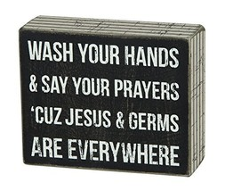 Primitives by Kathy Box Sign, 4-Inch by 5-Inch, Jesus & Germs - $21.28