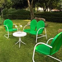 GREEN WHITE VINTAGE STYLE METAL 4 PIECE OUTDOOR RETRO FURNITURE CONVERSA... - €280,27 EUR