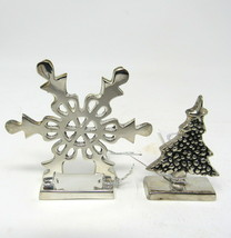 """Christmas Tree Snowflake 2 Place Card Holders New 2"""" Silver Plated Solid... - $16.74"""