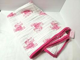 Lilly Pulitzer Pink Baby Blanket Pottery Barn Kids Elephant Bazaar 37x27... - $42.52