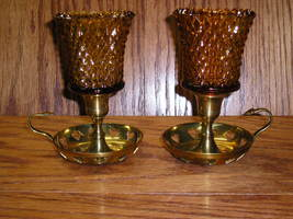 2  Amber Gold Diamond Point Peg Votive Cup Glass Candle Holders - $10.99