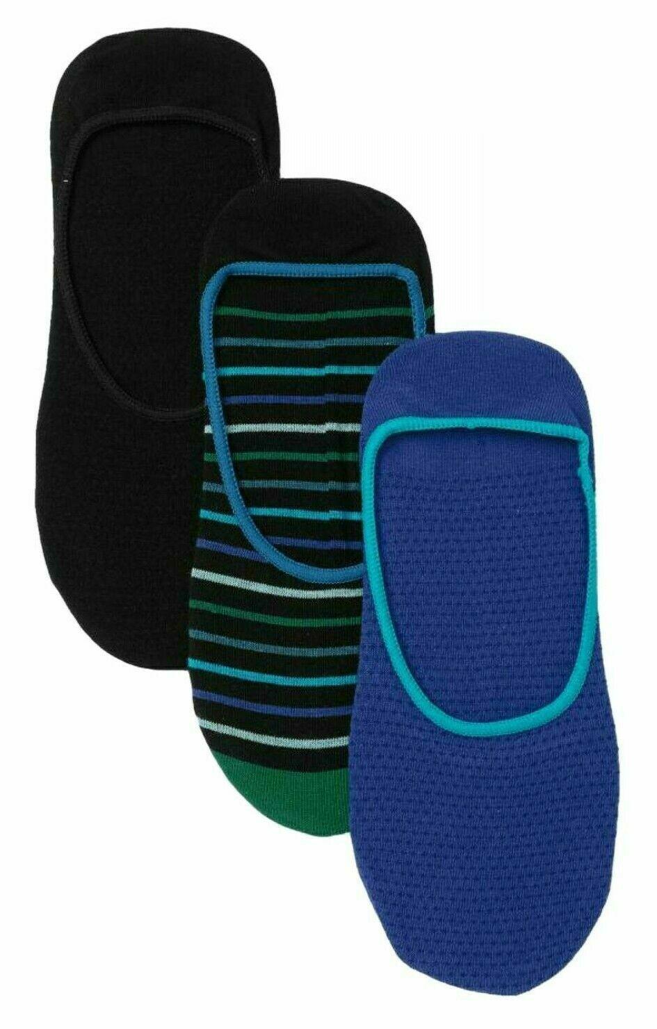 3 Pair Pack Hue Women's Striped & Solid High Cut Liner Socks Royal Blue Pack