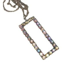 Vintage Brass Rhinestone O Initial Necklace - $28.00