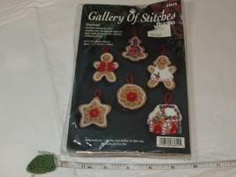 Gallery of Stitches Bucilla 33614 Gingerbread 6 felt ornaments Christmas set NOS - $28.70
