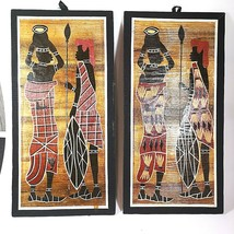 African Wooden Pictures/Art 2 Pieces Kenyan Warriors Mix Media Wall Hanging - $47.57