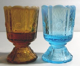 Fenton Paneled Daisy Blue Opalescent & Cameo Opalescent Toothpick Holders - $30.00
