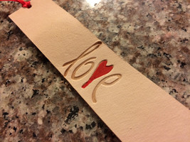 Love Heart Leather Bookmark - $10.00