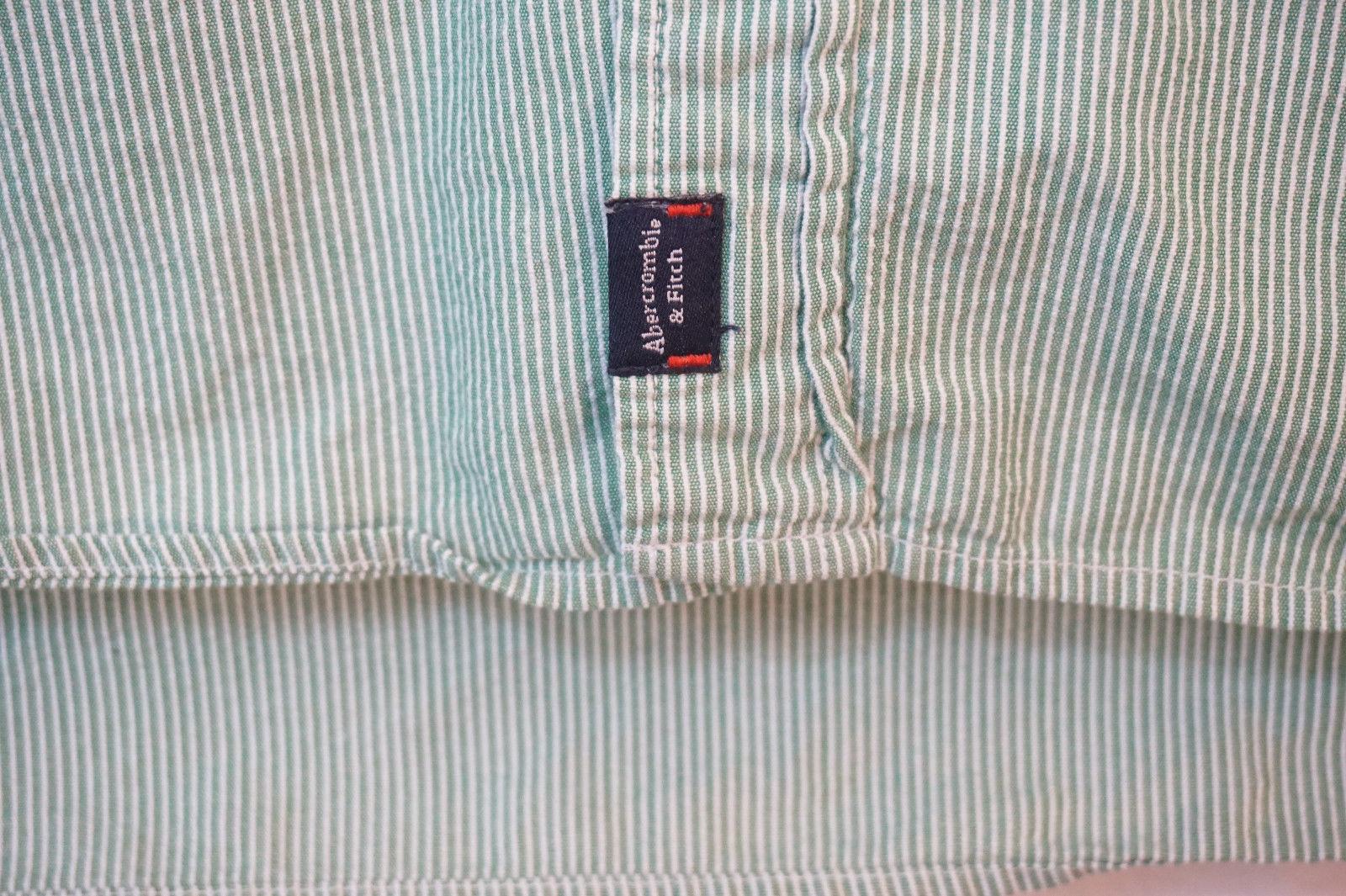 Abercrombie Midweight Pinstriped Short Sleeve Button-Front Shirt, Men's XL 8574