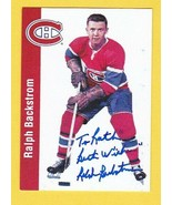 RALPH BACKSTROM AUTOGRAPHED CARD 1994 PARKHURST MONTREAL CANADIENS INSCR... - $4.98