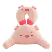 A Set Of U Shaped&Back Cushion Healthy Neck Pillow Travel Neck Pillow,Pig - $30.26