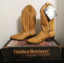 Golden Retriever Foot Wear Leather Cowboy Boots With Leather Soles Size 8D - $46.71