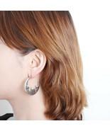 Handmade Curve Circle Hoop Earrings Made With Swarovski Stone Women Fash... - $17.99