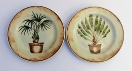 2X American Atelier Stoneware West Indies Tropical Palm Salad Plate 7 3/4 inch - $18.00