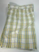 Mens Izod Blue Yellow Plaid Shorts Size 36 Cotton 29910 - $29.69
