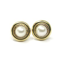 18K YELLOW WHITE GOLD PEARL BUTTON EARRINGS, 11 MM, 0.43 INCHES WORKED DISC image 2