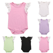 Cute Newborn Girls Baby Romper Solid Color Cotton Rompers Fly Sleeve O N... - $10.99