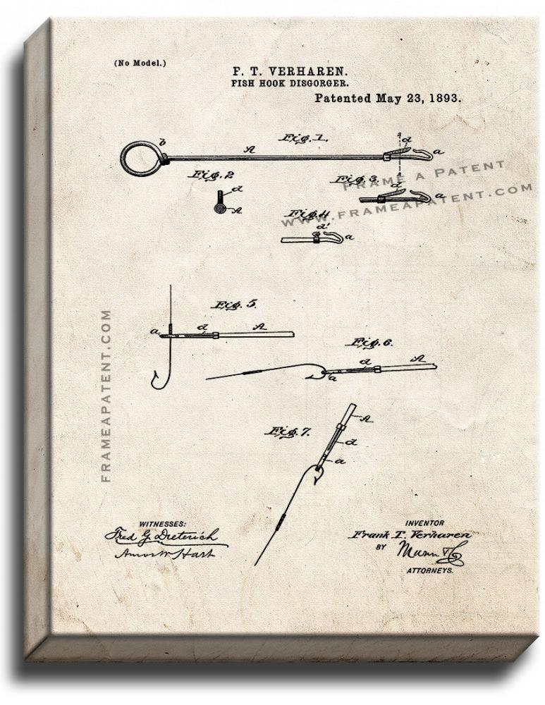 Primary image for Fish Hook Disgorger Patent Print Old Look on Canvas