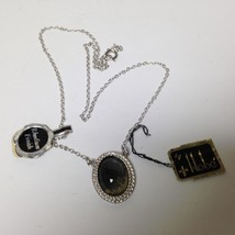 Vintage, Rare, Hobe Chrome or Rhodium Finish, Sensuous Stone 18in  Necklace - $9.45