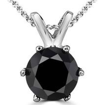 0.25 Carat 14K White Gold Black Diamond 6 Prong Solitaire Necklace & Chain - $75.27