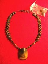 Vintage Beaded Necklace; Pendant & Pierced Earring Set - $19.75