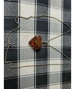"Vintage Sterling Silver 24"" Necklace 4.5cm Amber Heart Pendant - $47.82"