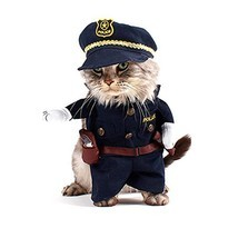 Policeman Pet Costume Style Dog Jeans Clothes Cat Funny Apparel Gomaomi - €11,89 EUR