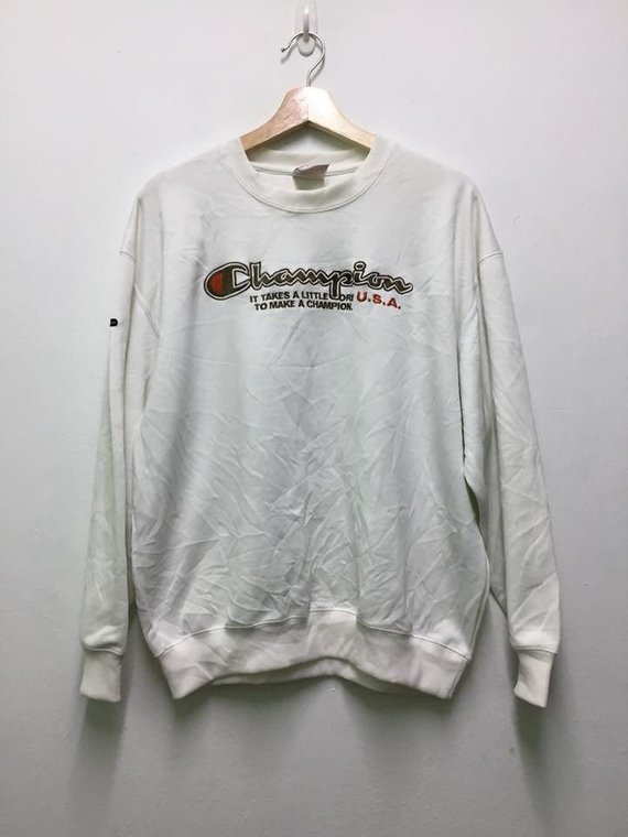 Primary image for Vintage Champion Big Embroidery Logo SpellOut Sweatshirt White Colour Design