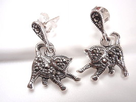 Marcasite Cat Stud Earrings Sterling Silver Corona Sun Jewelry kitty fel... - $17.81