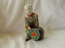antique figure porcelain Japanese 19th century - child with drum - resto... - $144.51