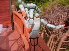 Wood Yard Decoration Spooky Hand Stake Theatre Props Blue Wood w orange ... - $4.99