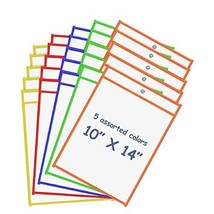 """Board2by Reusable Dry Erase Pockets 25 Pack, Clear 10"""" x 14"""" Write and Wipe Pock"""