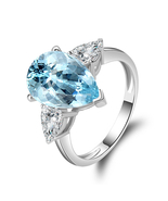 3 Stones Ring 925 Silver Natural Blue Topaz Water Drop Ring 5 Carat - $189.99