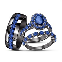 14k Black Gold Finish Oval Cut Blue Sapphire Bride & Groom Wedding Trio ... - $163.99