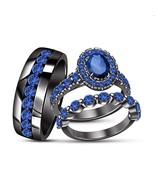 14k Black Gold Finish Oval Cut Blue Sapphire Bride & Groom Wedding Trio ... - $163.99