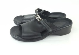 Clarks Slides 7 Sandals Black Leather - $28.04