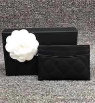 BNIB AUTH CHANEL 2019 BLACK QUILTED CAVIAR CARD HOLDER WALLET  image 2