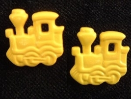 Train Engine Button EARRINGS-Model Railroad Funky Jewelry-YELLOW - $3.97