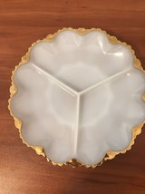"Vintage 10"" White Milk Glass with Gold Trim Divided Relish Plate Platter - $9.49"