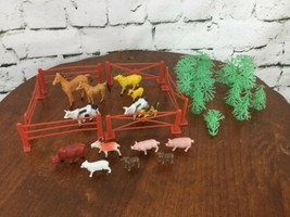 Imperial Vintage Plastic Animals Fencing Trees Horses Pigs Goats Lambs 1... - $39.59