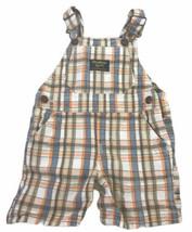 OshKosh B'Gosh Baby Boy 12 Months Plaid Cotton Short Overalls 12M - $19.16