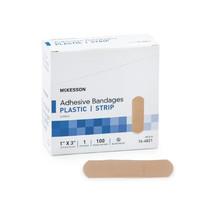 "McKesson Adhesive Bandages 1"" x 3"" Plastic Bx/100 Tan Rectangular Adhesive Strip - $4.64"
