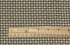 "Black White Plaid Fabric Red Mini Flowers Material 27"" x 42"" Cotton - $5.81"
