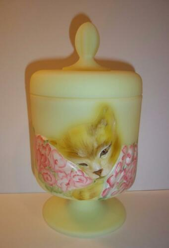 Fenton Glass Buttercream Yellow Chessie Railroad Cat Box Brown Tabby Ltd Ed #1/3