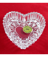 Vintage Brilliant 24% Lead Crystal Heart Shape Ring Holder Trinket Keeps... - $6.99
