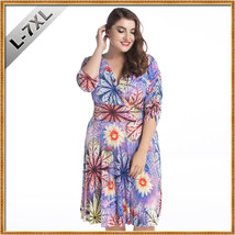 Women Fashion Flower Summer Dress Oversized Ladies V Neck Beach Dresse Plus Size - $23.98