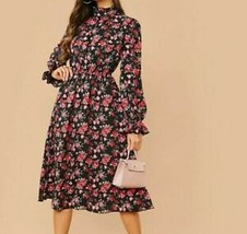 Floral Print Stand Collar Ruffle Trim Flounce Sleeve A-Line Flared Long ... - $51.29