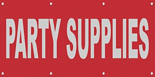 Party Supplies Red Background MESH Windproof Fence Banner Sign 4 Ft x 8 Ft