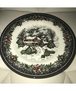Royal Stafford Christmas Village Cottage Snow Salad Plates Set 6 ~NEW ~ - $69.99