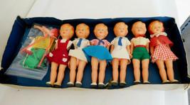 "Vintage 1965 Italy (6) Hard Plastic 7"" Girl Dolls w/ Box & Accessories - $68.99"