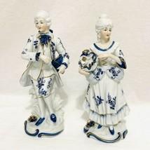 """Vintage Porcelain Victorian Couple Figurines 9"""" Blue White Gold Trim Ardco  - $47.50"""